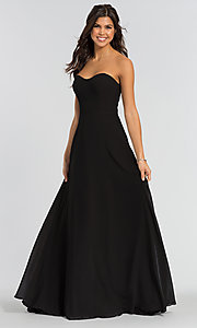 Image of long sweetheart bridesmaid dress with added straps. Style: KL-200009 Front Image