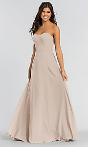 Image of long sweetheart bridesmaid dress with added straps. Style: KL-200009 Detail Image 3