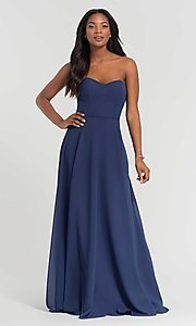 Image of long sweetheart bridesmaid dress with added straps. Style: KL-200009 Detail Image 6