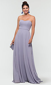 Image of long sweetheart bridesmaid dress with added straps. Style: KL-200009 Detail Image 8