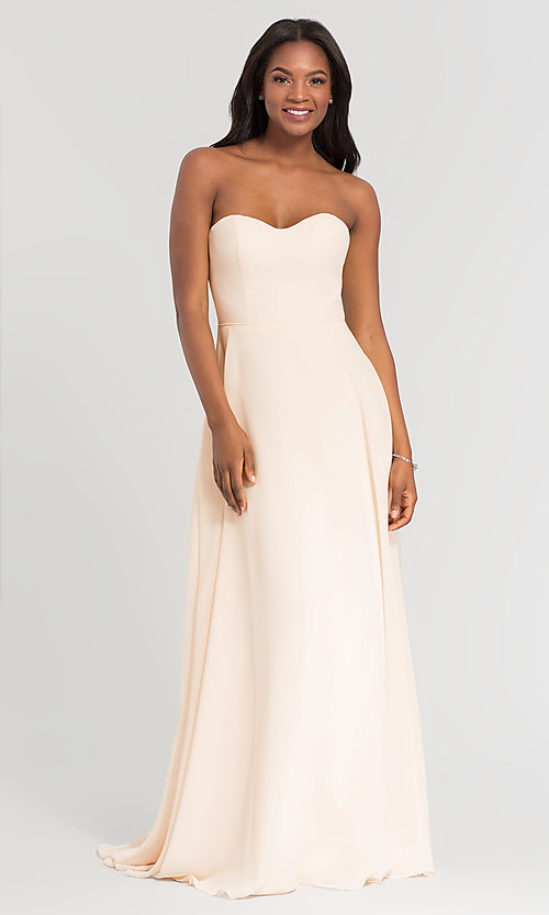 Image of long sweetheart bridesmaid dress with added straps. Style: KL-200009 Detail Image 1