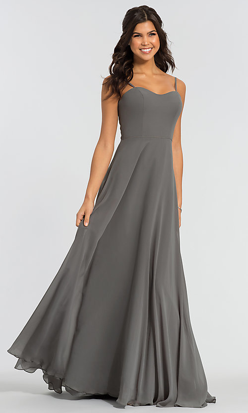Image of long sweetheart bridesmaid dress with added straps. Style: KL-200009 Detail Image 4