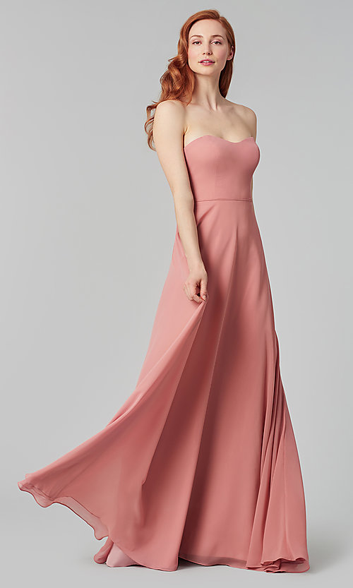 Image of long sweetheart bridesmaid dress with added straps. Style: KL-200009 Detail Image 5