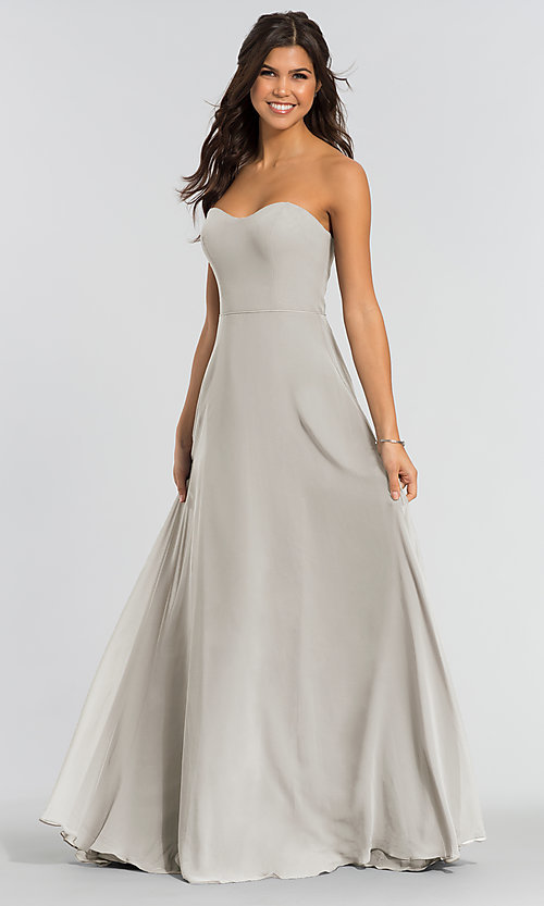 Image of long sweetheart bridesmaid dress with added straps. Style: KL-200009 Detail Image 7