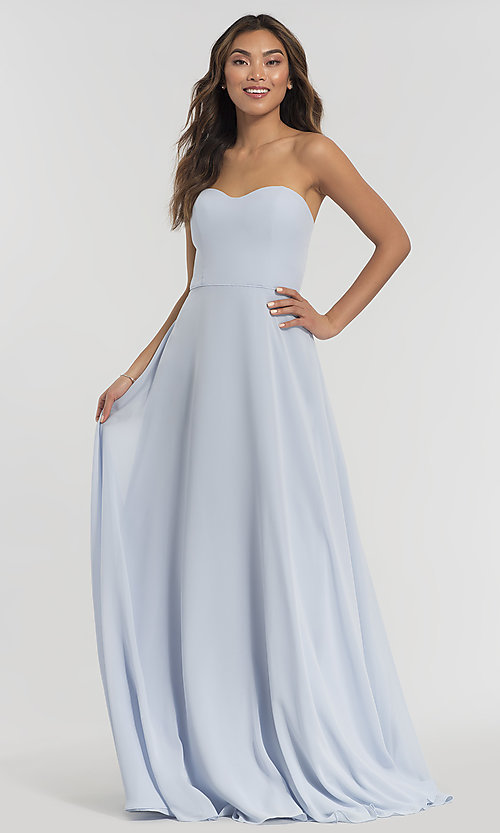 Image of long sweetheart bridesmaid dress with added straps. Style: KL-200009 Detail Image 2