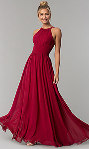 Image of high-neck chiffon ruched long prom dress. Style: FB-GL1524 Detail Image 1