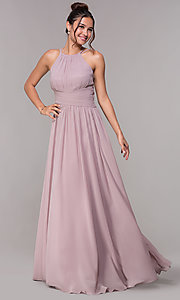 Image of high-neck chiffon ruched long prom dress. Style: FB-GL1524 Detail Image 3