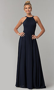 Image of high-neck chiffon ruched long prom dress. Style: FB-GL1524 Detail Image 2