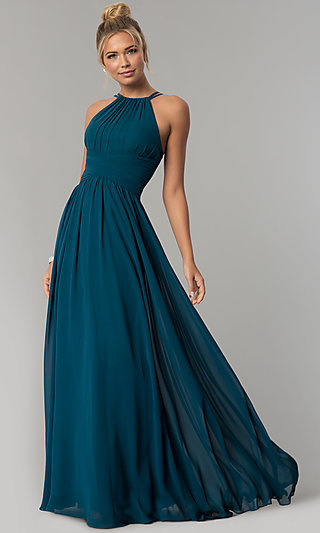 8a6c86fe2d3 High-Neck Chiffon Ruched Long Prom Dress. Share