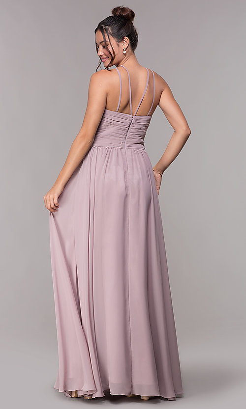 Image of high-neck chiffon ruched long prom dress. Style: FB-GL1524 Detail Image 4