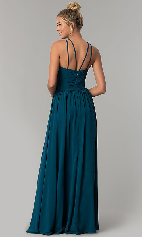 Image of high-neck chiffon ruched long prom dress. Style: FB-GL1524 Back Image
