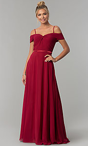 Image of long off-the-shoulder prom dress with ruched bodice. Style: FB-GL1523 Detail Image 2