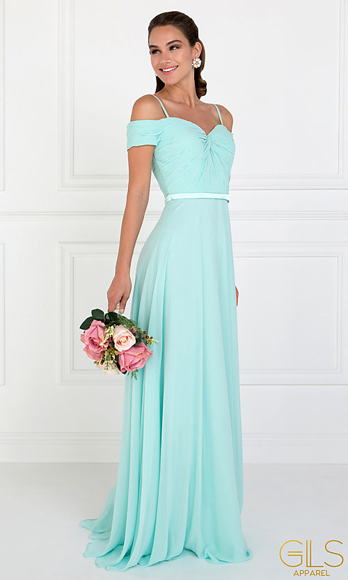 Image of long off-the-shoulder prom dress with ruched bodice. Style: FB-GL1523 Detail Image 3