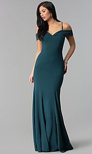 Image of long off-the-shoulder prom dress with thin straps.  Style: FB-GL1593 Detail Image 3