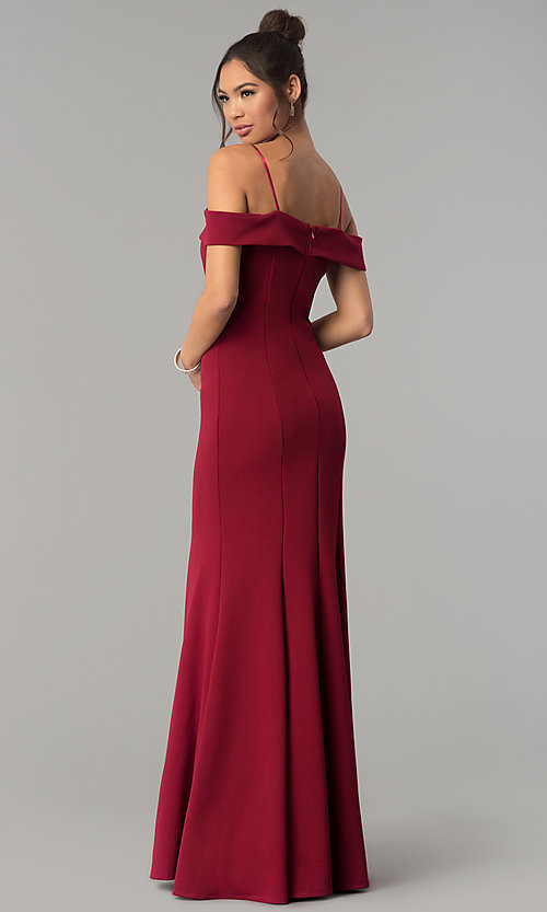 Image of long off-the-shoulder prom dress with thin straps.  Style: FB-GL1593 Back Image