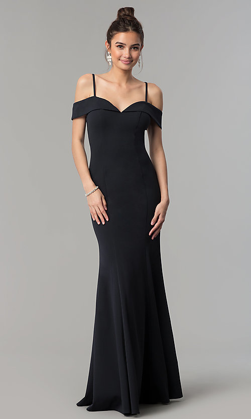 Image of long off-the-shoulder prom dress with thin straps.  Style: FB-GL1593 Detail Image 2