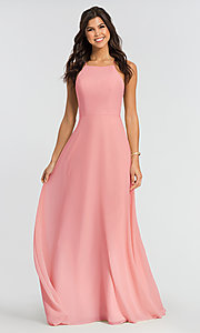 Image of simple long bridesmaid dress with open back. Style: KL-200010 Detail Image 1