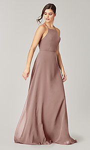 Image of simple long bridesmaid dress with open back. Style: KL-200010 Detail Image 7