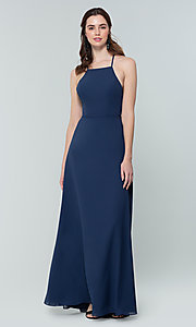 Image of simple long bridesmaid dress with open back. Style: KL-200010 Detail Image 8