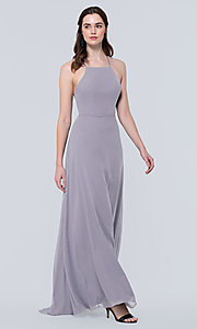 Image of simple long bridesmaid dress with open back. Style: KL-200010 Detail Image 2