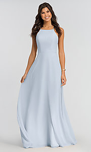 Image of simple long bridesmaid dress with open back. Style: KL-200010 Detail Image 4
