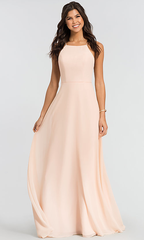 Image of simple long bridesmaid dress with open back. Style: KL-200010 Front Image