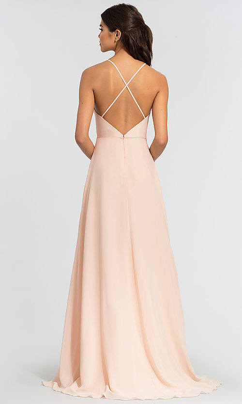 Image of simple long bridesmaid dress with open back. Style: KL-200010 Back Image