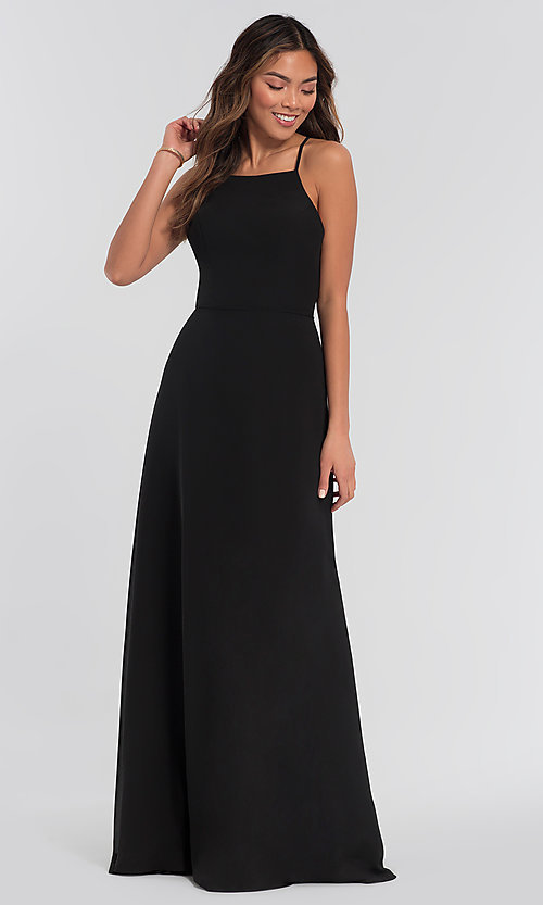Image of simple long bridesmaid dress with open back. Style: KL-200010 Detail Image 3