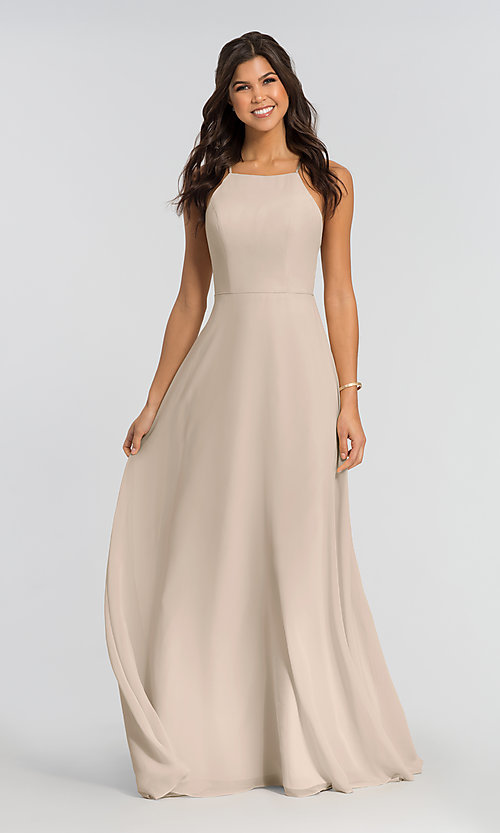 Image of simple long bridesmaid dress with open back. Style: KL-200010 Detail Image 5