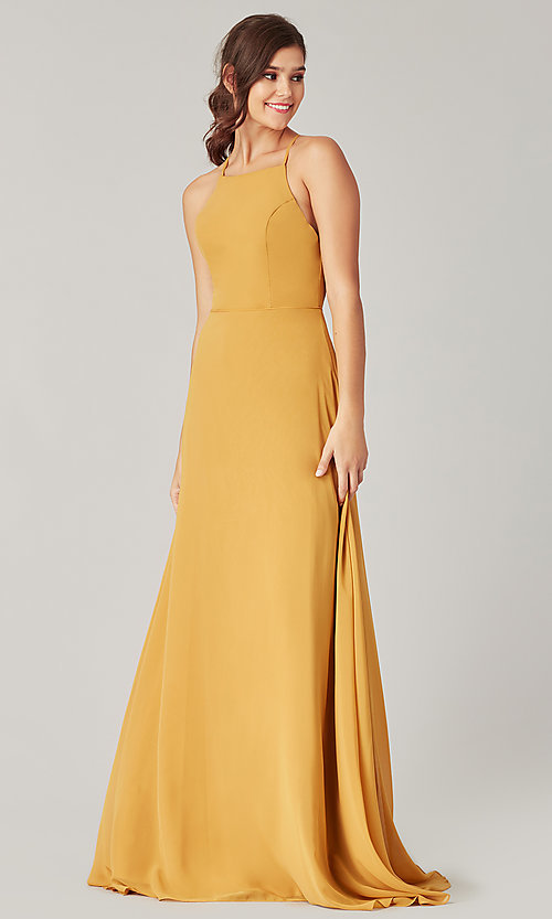 Image of simple long bridesmaid dress with open back. Style: KL-200010 Detail Image 6