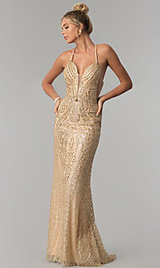 Image of open-back corset long glitter prom dress. Style: FB-GL1546 Front Image