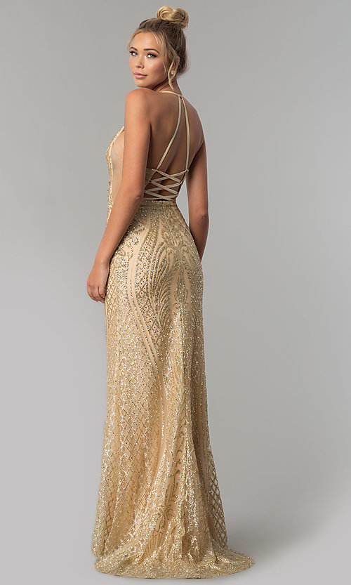 Open-Back Corset Glitter Long Prom Dress - PromGirl