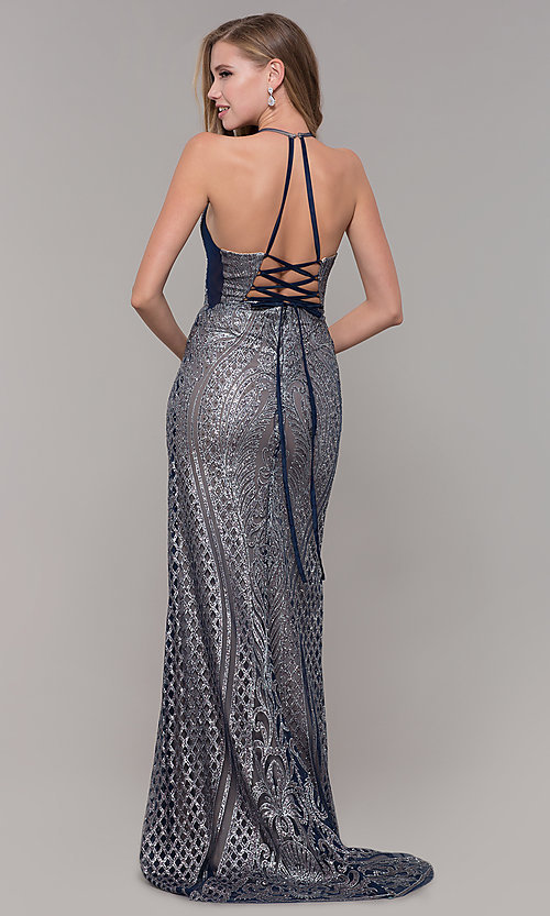 Image of open-back corset long glitter prom dress. Style: FB-GL1546 Back Image