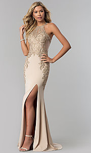 Image of long Elizabeth K prom dress with lace bodice. Style: FB-GL1519 Detail Image 2