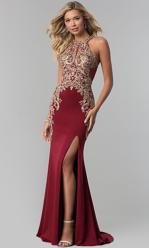 Image of long Elizabeth K prom dress with lace bodice. Style: FB-GL1519 Detail Image 1