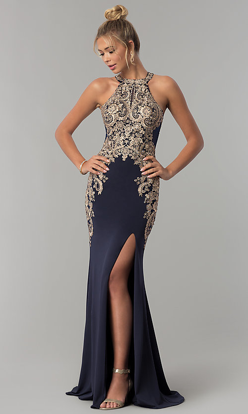 Image of long Elizabeth K prom dress with lace bodice. Style: FB-GL1519 Front Image