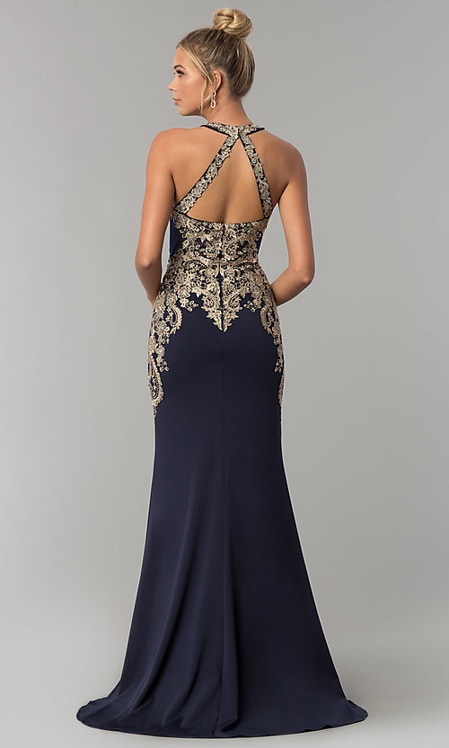 Image of long Elizabeth K prom dress with lace bodice. Style: FB-GL1519 Back Image