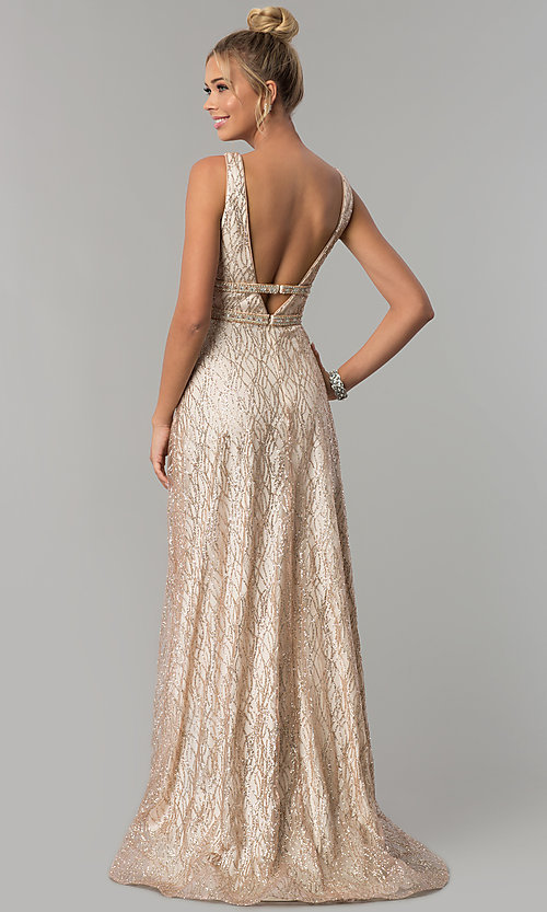 Image of long glitter v-neck prom dress with beaded bands. Style: FB-GL1575 Back Image