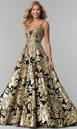 Long Floral-Sequin V-Neck Evening Gown