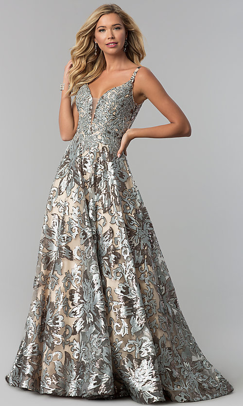 Floral-Sequin V-Neck Long Evening Gown - PromGirl