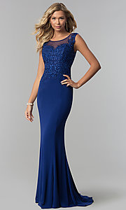 Image of long embroidered-bodice royal blue prom dress. Style: FB-GL1411 Front Image