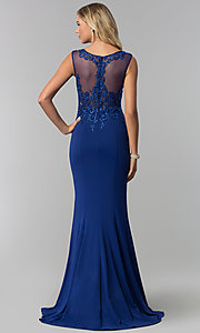 Image of long embroidered-bodice royal blue prom dress. Style: FB-GL1411 Back Image