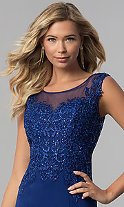 Image of long embroidered-bodice royal blue prom dress. Style: FB-GL1411 Detail Image 1