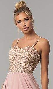 Image of chiffon prom dress with embellished-lace bodice. Style: FB-GL1571 Detail Image 1