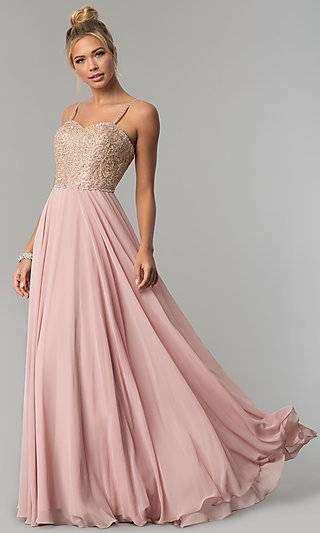 Chiffon Prom Dress with Embellished-Lace Bodice