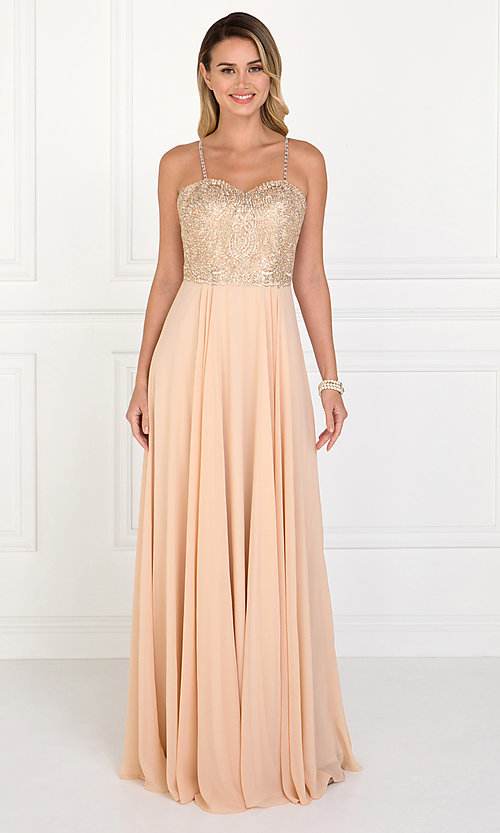 Image of chiffon prom dress with embellished-lace bodice. Style: FB-GL1571 Detail Image 3