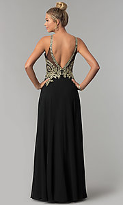 Image of chiffon long high-neck prom dress with deep v-back. Style: FB-GL1526 Back Image