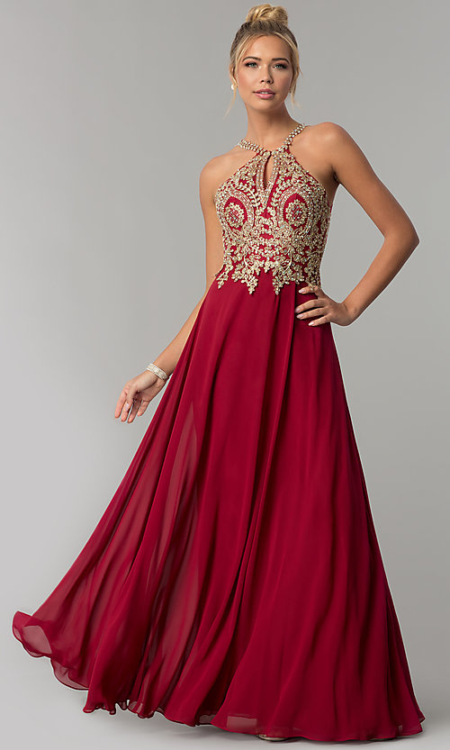 Image of chiffon long high-neck prom dress with deep v-back. Style: FB-GL1526 Detail Image 3