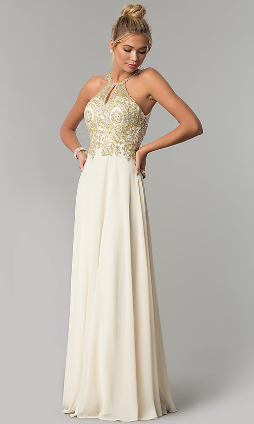 a1a6f2cb394bf Image of chiffon long high-neck prom dress with deep v-back. Style