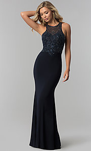 Image of illusion-bodice high-neck long prom dress. Style: FB-GL1507 Detail Image 3